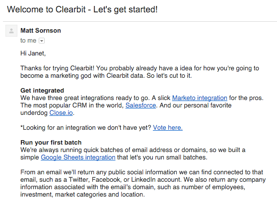 welcome email by Clearbit