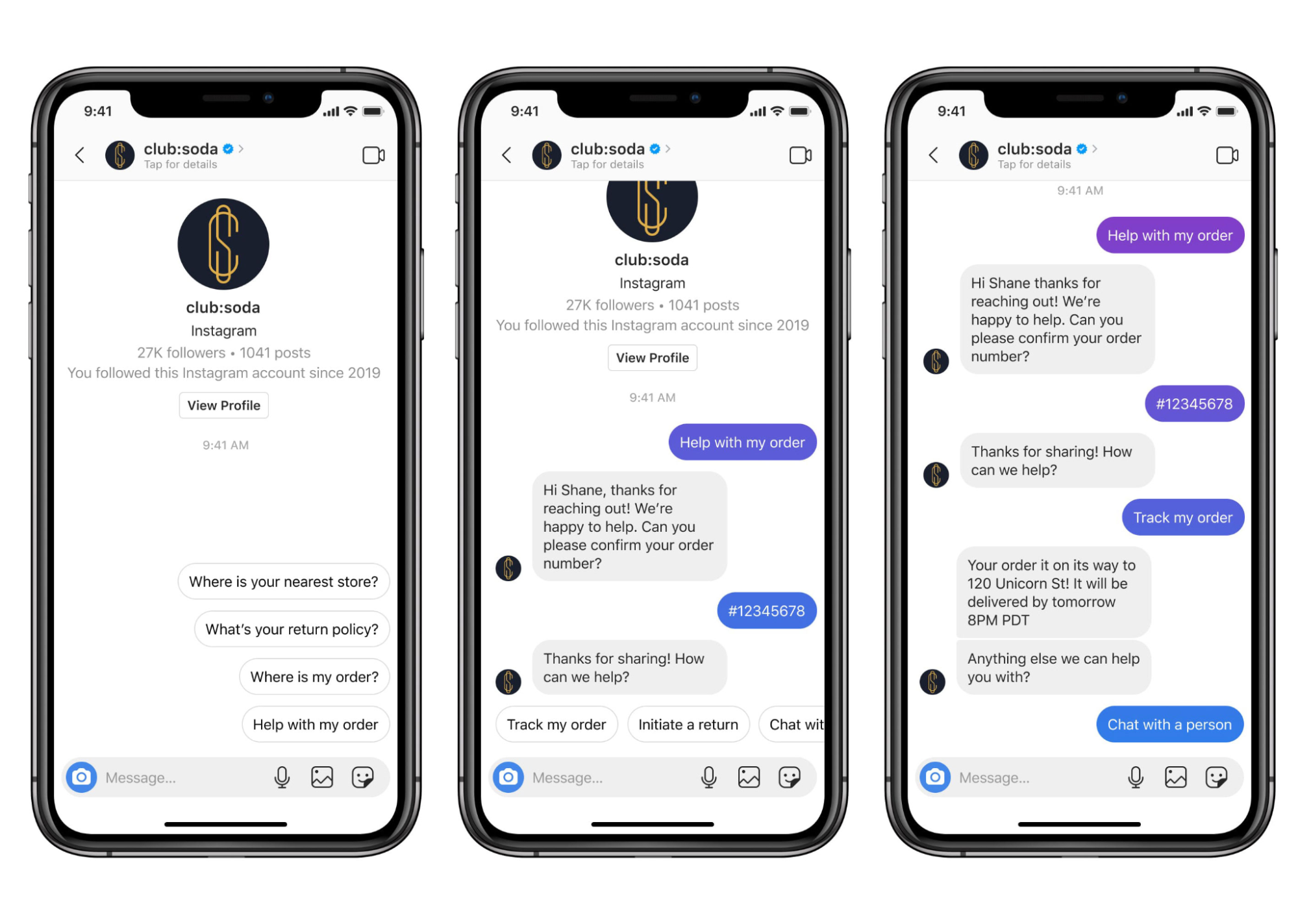 Image showing instagram chatbot in action