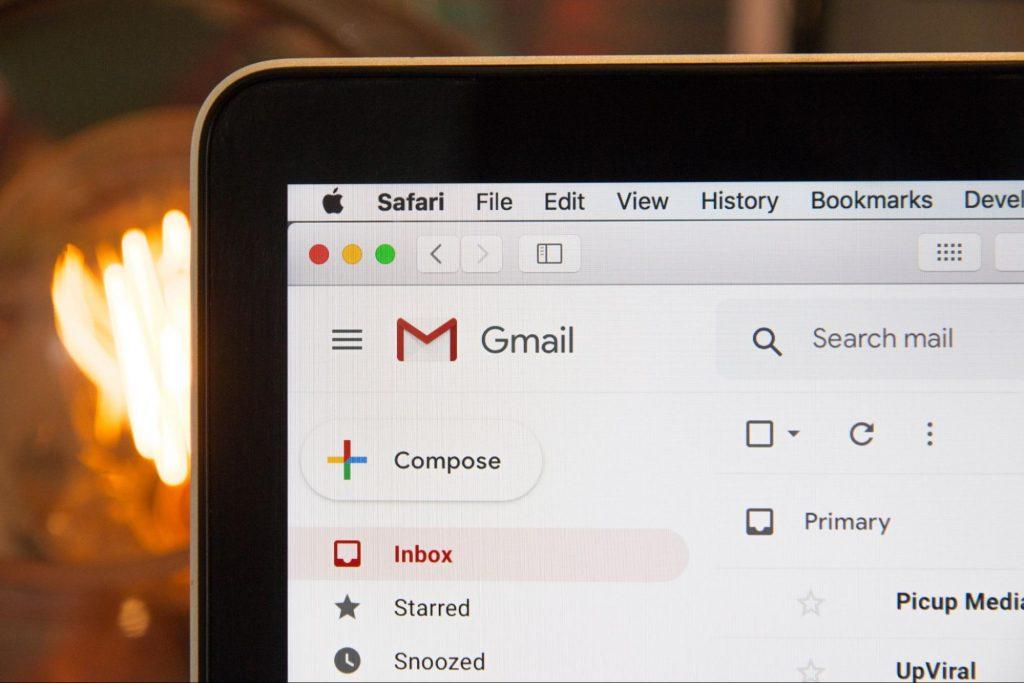 Laptop screen showing gmail interface